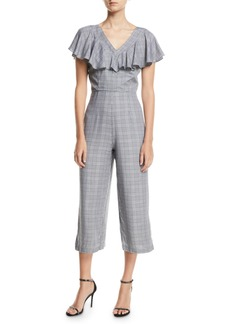 Laundry by Shelli Segal Glen-Check Ruffle-Trimmed V-Neck Culotte Jumpsuit
