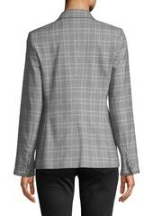 Laundry by Shelli Segal Glen Plaid Fringe-Trim Blazer Jacket