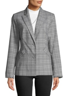 Laundry by Shelli Segal Glen Plaid Fringe-Trim Blazer Jacket
