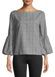 Laundry by Shelli Segal Glen Plaid Puff-Sleeve Crepe Top