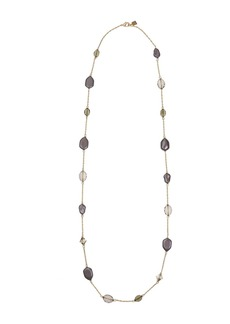 Laundry by Shelli Segal Gold-Tone and Grey Glass Faux Pearl Long Station Necklace