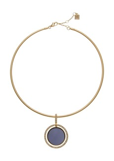 Laundry by Shelli Segal Gold-Tone Coil Necklace with Blue Pendant