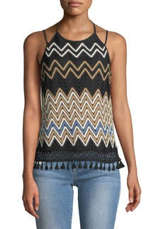 Laundry by Shelli Segal Halter-Neck Crochet Tank