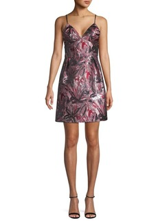 Laundry by Shelli Segal Jacquard V-Neck Mini Dress