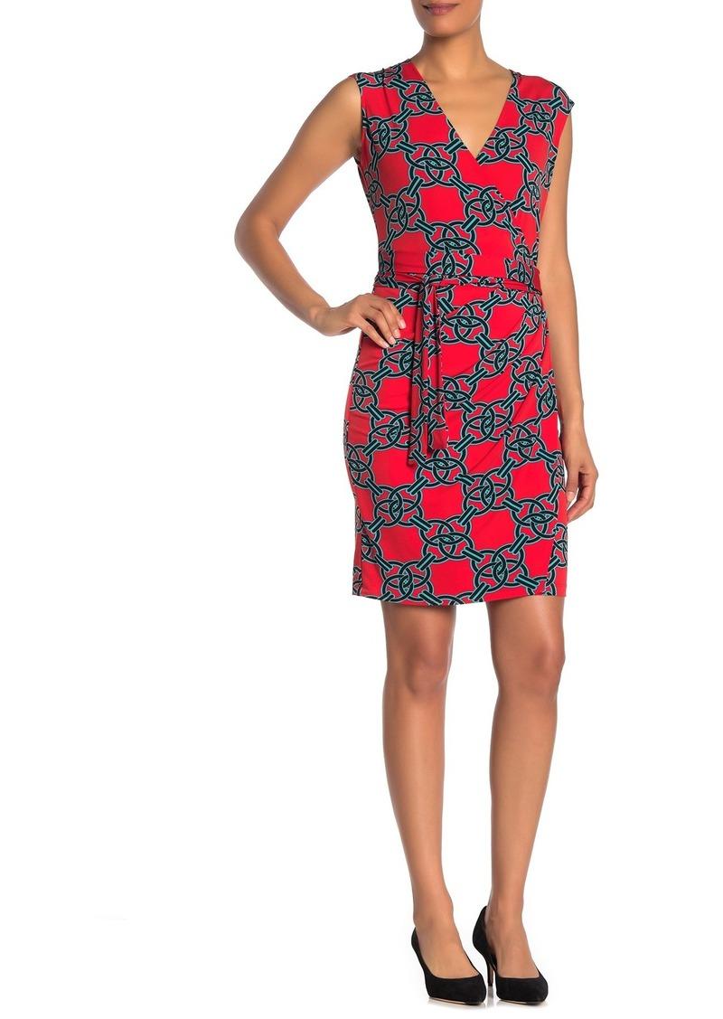 Laundry by Shelli Segal Jersey Knit Geo Printed Wrap Dress