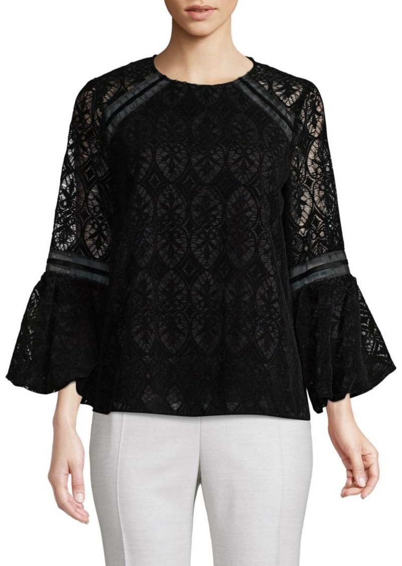 Laundry by Shelli Segal Lace Bell-Sleeve Top