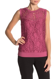 Laundry by Shelli Segal Lace Illusion Neck Tank