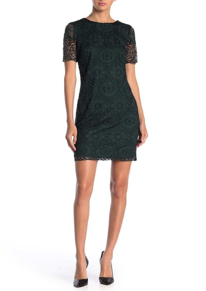 Laundry by Shelli Segal Lace Short Sleeve Mini Dress