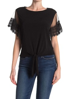 Laundry by Shelli Segal Lace Sleeve Tie Front Top