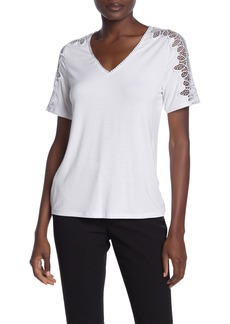 Laundry by Shelli Segal Lace Sleeve V-Neck Top