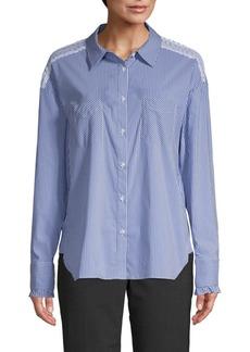 Laundry by Shelli Segal Lace-Trim Cotton Blend Button-Down Shirt