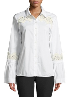 Lace-Trim Flare-Sleeve Button-Front Blouse