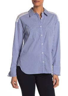 Laundry by Shelli Segal Lace Trim Stripe Button Down Shirt