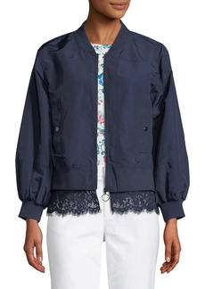 Laundry by Shelli Segal Lace-Trimmed Bomber Jacket
