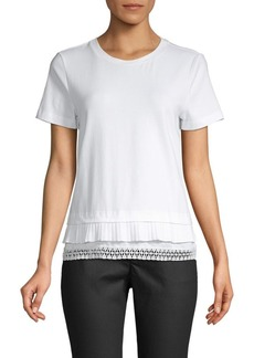 Laundry by Shelli Segal Lace-Trimmed Cotton-Blend Tee