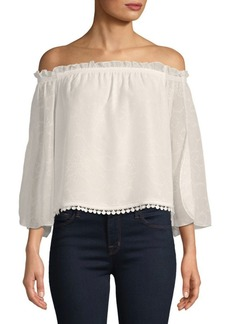 Laundry by Shelli Segal Lace-Trimmed Off-The-Shoulder Blouse