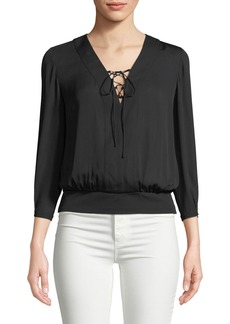 Lace-Up Woven Blouse