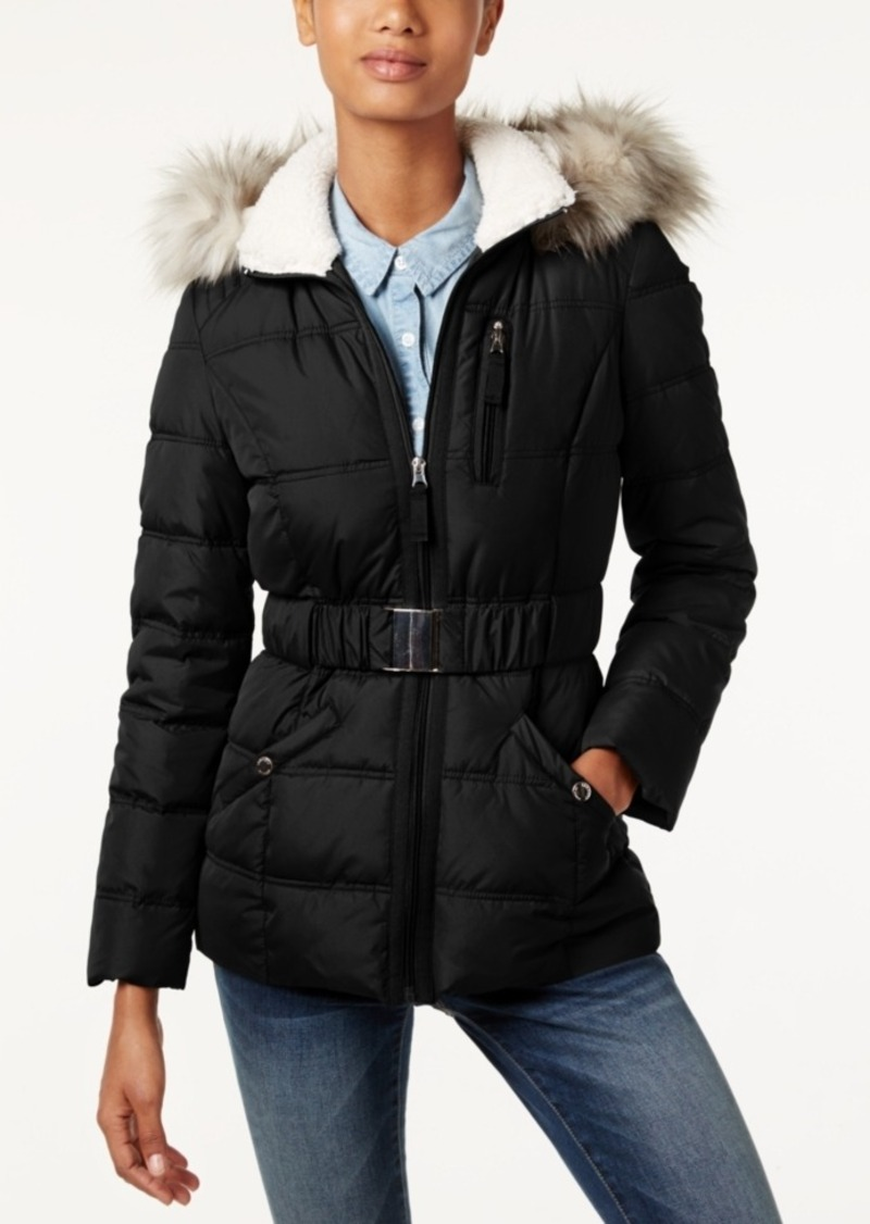 Laundry by Shelli Segal Laundry by Design Faux-Fur-Trim Belted Puffer Coat