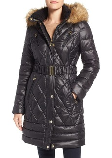 Laundry by Design Faux Fur Trim Quilted Puffer Coat