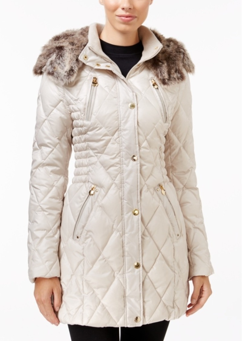 Laundry by Shelli Segal Laundry by Design Faux-Fur-Trim Quilted Puffer Coat