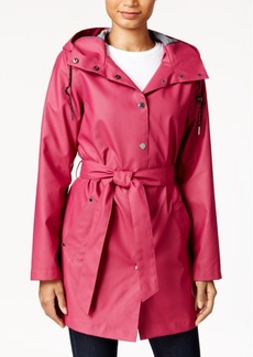 Laundry by Design Hooded Water-Resistant Belted Raincoat