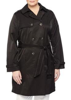 Laundry by Design Plus Eyelet-Belt Double-Breasted Trenchcoat