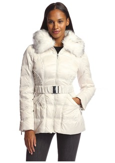 Laundry by helli egal Women's Belted Down Coat with Faux Fur ugar