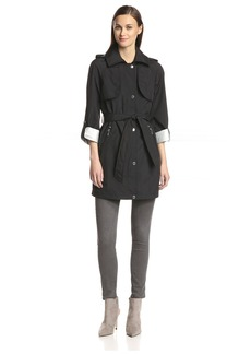 Laundry By helli egal Women's Hooded Trench with Contrast Lining Black/ilver