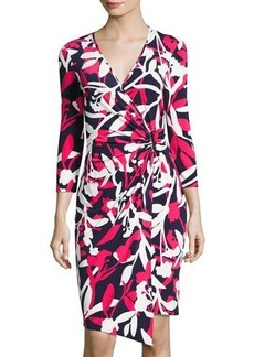 Laundry By Shelli Segal 3/4-Sleeve Floral-Print Wrap Dress