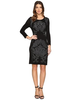 Laundry by Shelli Segal 3/4 Sleeve Jacquard Sweater Dress with Embellishment