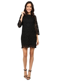 Laundry by Shelli Segal 3/4 Sleeve Lace Dress w/ Scallops