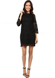 3/4 Sleeve Lace Dress w/ Scallops