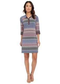 Laundry by Shelli Segal 3/4 Sleeve Print Matte Jersey Shirt Dress