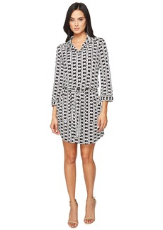 Laundry by Shelli Segal 3/4 Sleeve Printed Shirtdress w/ Patch Pockets