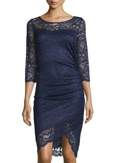 Laundry by Shelli Segal 3/4-Sleeve Ruched Lace Sheath Dress