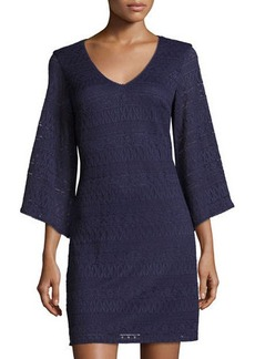 Laundry By Shelli Segal 3/4-Sleeve V-Neck Lace Dress