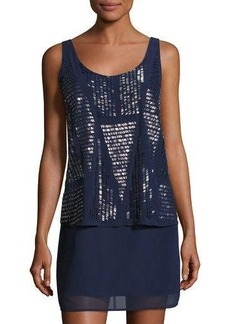 Laundry By Shelli Segal Allover-Beaded Popover Cocktail Dress