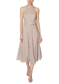 Laundry by Shelli Segal Animal Burnout Tie-Neck Fit & Flare Dress