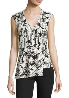 Laundry By Shelli Segal Asymmetric-Peplum Floral-Print Top