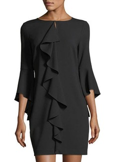 Laundry By Shelli Segal Asymmetric Ruffle Keyhole Mini Dress