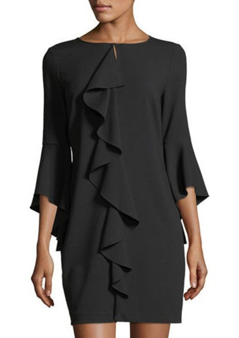 Laundry By Shelli Segal Asymmetric Ruffle Keyhole Mini Dress