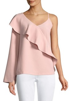 Laundry By Shelli Segal Asymmetric-Sleeve Ruffle Top
