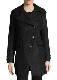 Laundry By Shelli Segal Asymmetric Wool Boucle Top Coat