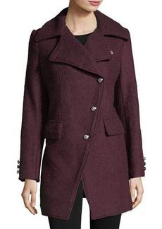 Laundry By Shelli Segal Asymmetric Wool Boucle Top Coat