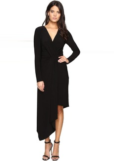 Asymmetrical Draped Wrap Dress-Curve Control Lining