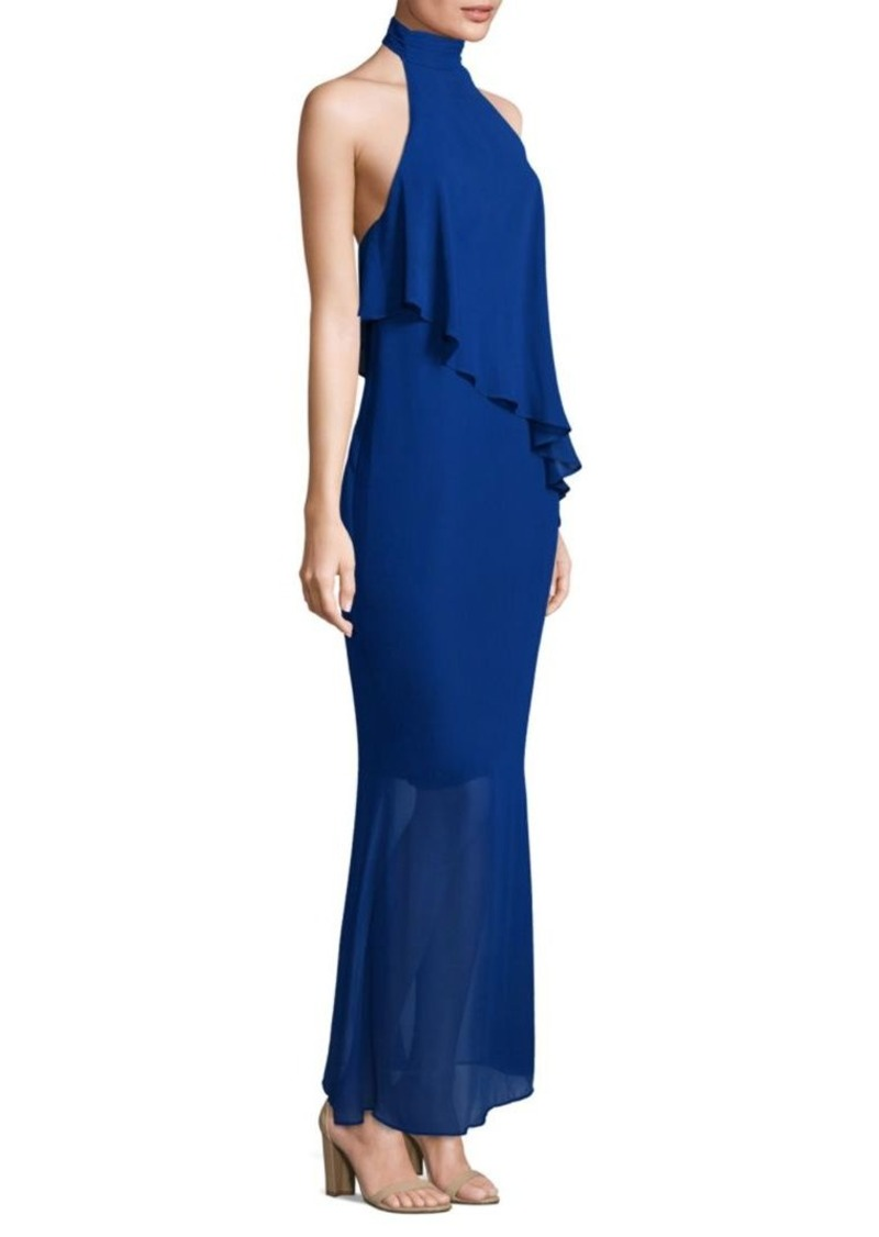 Laundry by Shelli Segal Asymmetrical Popover Halter Gown