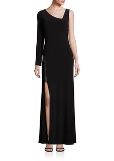 Laundry by Shelli Segal Asymmetrical Side-Slit Gown