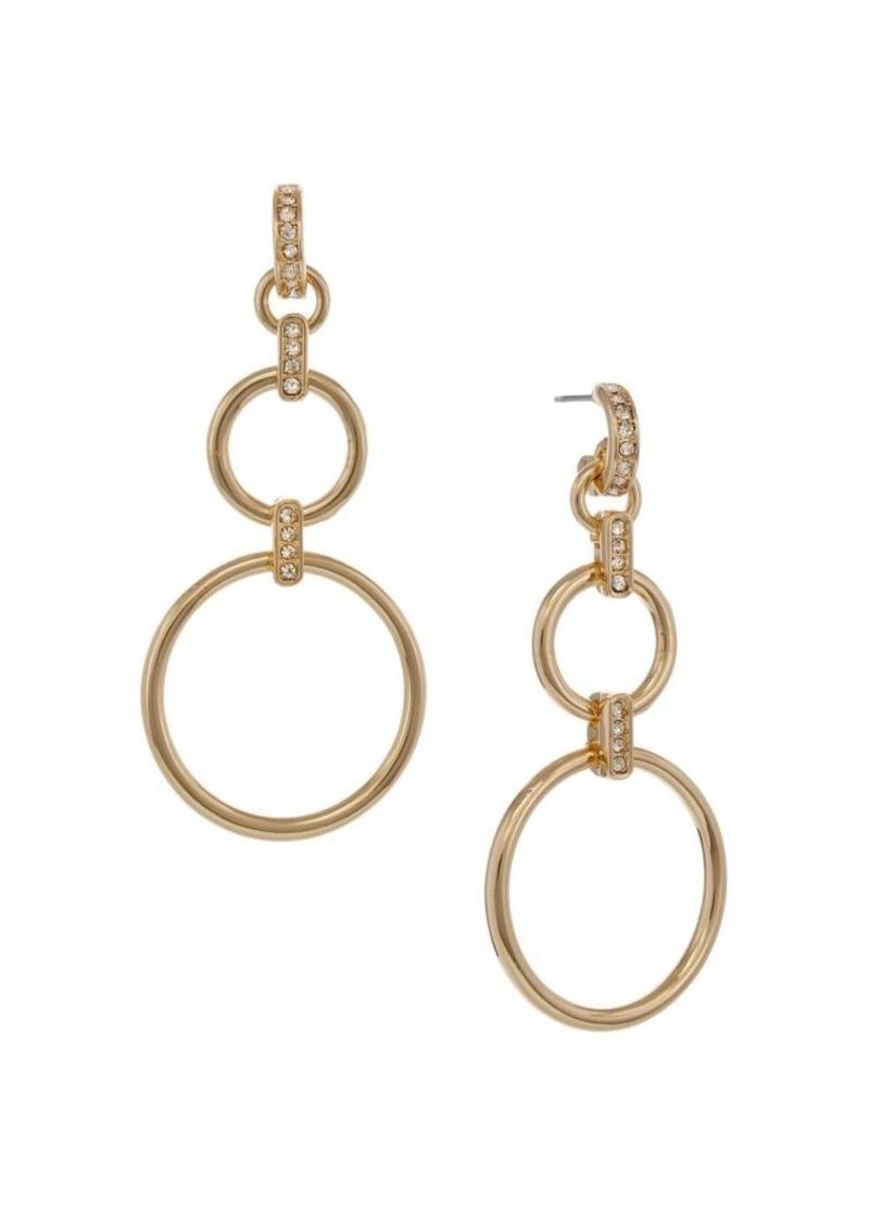 Laundry by Shelli Segal Basics Goldtone & Crystal Ring Drop Earrings