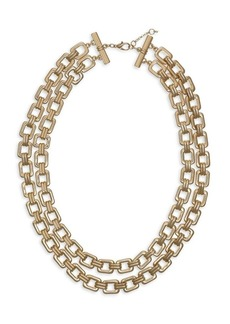 Laundry by Shelli Segal Basics Goldtone 2-Row Square Link Collar Necklace