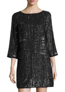 Laundry By Shelli Segal Beaded 3/4-Sleeve Cocktail Dress